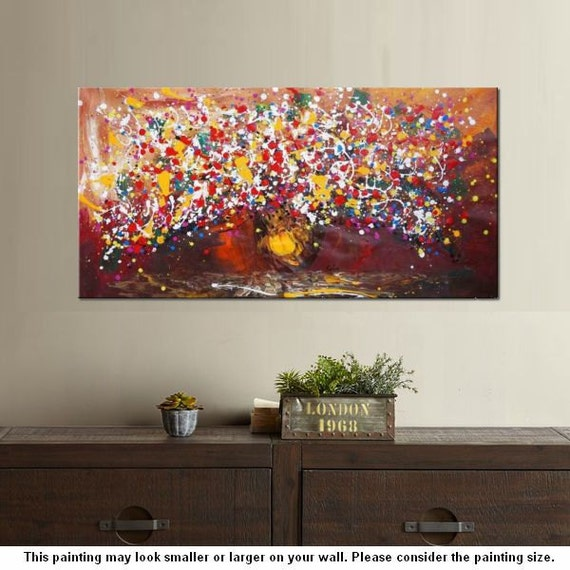 Extra Large Painting 24x48 Flower Oil Painting Canvas