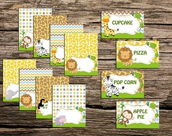 Jungle Safari x 8 Fodd Tent Labels BLANK ,Jungle Safari Party Printable,favors DIY, Instant Download