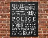 PRINTABLE Art Police Officer Gift Police Officer Subway Art Police Wall Art Law Enforcement Gift Retirement Gift