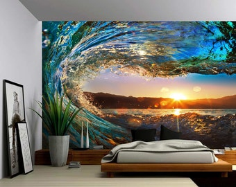 Sunset Sea Ocean Wave - Large Wall Mural, Self-adhesive Vinyl Wallpaper, Peel & Stick fabric wall decal