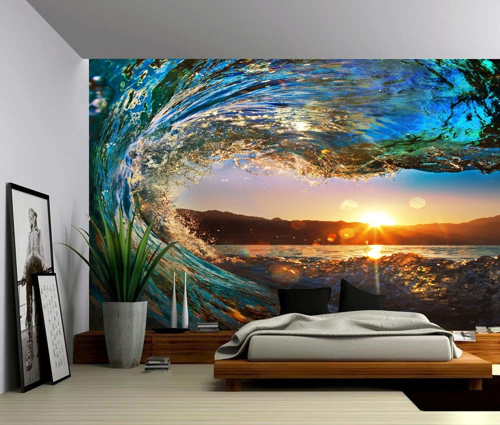 Sunset sea ocean wave large wall mural self adhesive vinyl for Beach sunset mural