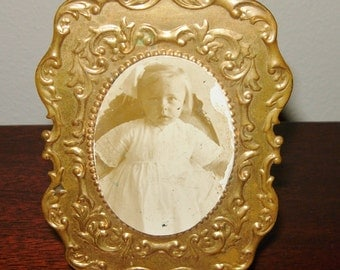 Antique Picture Frame, Small Size, Gold Tin, With Photo Of Little Girl