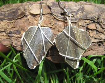 Gray striped pottery shard earrings