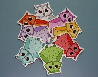 "8 stickers ""Rainbow owls"""