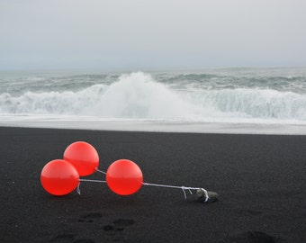 Red * Photographic Art * Black Sand Beach * Iceland * Motion
