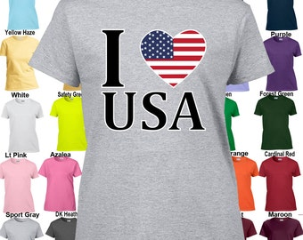 I Heart (Shaped Flag) USA - Patriotic - 4th of July - America - Classic Fit Ladies' T-Shirt XS-3XL in 21 colors