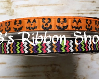 "3/8"" Halloween Jack O Lantern Faces and Chevron USDR 5 yd bundle grosgrain ribbon"