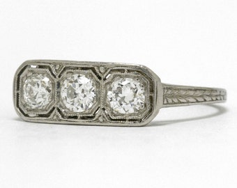3 Diamond Antique Edwardian Engagement Ring Platinum Old European Half Carat Diamonds Filigree Trinity Design Anniversary Band Low Setting