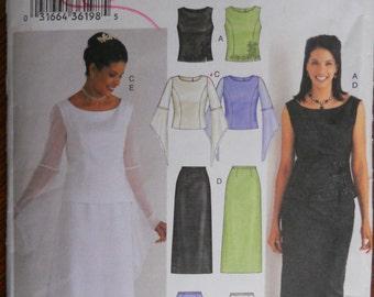 Butterick 3756.  Plus size wedding dress pattern. Plus size bridesmaid dress pattern.  2 piece dress.  Modest.  Sizes 18-22.