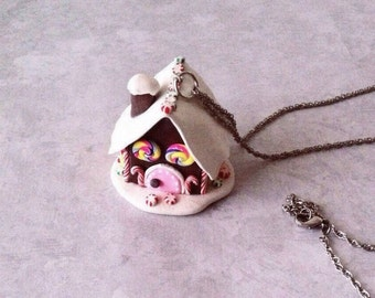 Gingerbread House, necklace, ornament,polymerclay