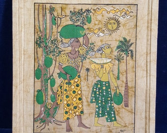 Vintage African batik picture with dedication on back from the YMCA