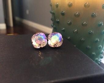 Rosaline Glacier Pink Swarovski Crystal Antique Bronze Studs