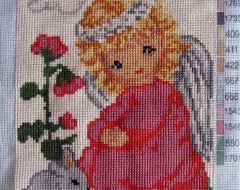 Handmade Tapestry Gobelin Needlepoint Kit , Angel With Bunny, Kids room decor  Hand-sewn Tapestry Folk Artwork, Housewarming Wall Decor