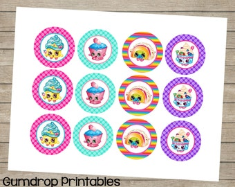 Shopkins Cupcake Toppers ~ 2 Inch Circles Images ~ Instant Download ~ Birthday Baby Shower Printable Images ~ Shopkins ~ Cute Birthday