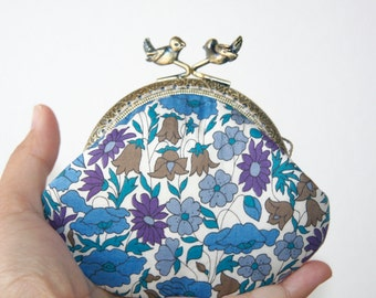 Liberty of London Poppy and Daisy Blue Purple Love Birds Ornaments Vintage Frame Coin Purse
