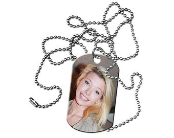 Custom Personalized Dog Tags with your Photo or Text With Beaded Chain (1 Sided)