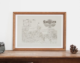 PARK SLOPE MAP - Vintage Map of Brooklyn New York