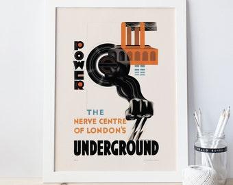 Vintage LONDON UNDERGROUND Poster Art Deco Print London Poster UK Travel Poster London Travel Poster 40's retro poster Frame-Ready Ribba