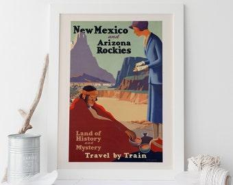 Vintage Art Deco Giclee Poster Print NEW MEXICO Arizona TRAVEL High Quality Frame-Ready Ikea Ribba Size