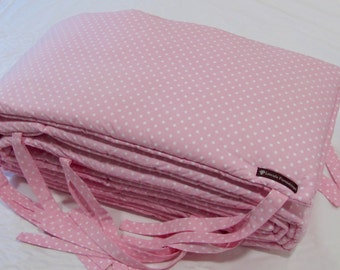 Custom Made NEW Pink Polka Dot Cot Bumper