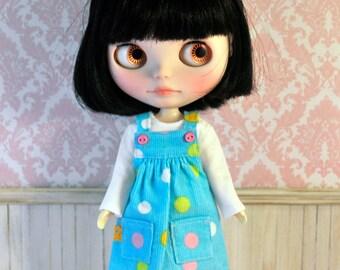 Aqua Spot Pinafore Dress for Blythe Doll