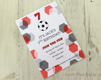 SOCCER INVITATION, FOOTBALL, Printable, Personalized, Soccer Birthday, Football Invitation, Soccer ball, 4th, 5th, 6th, 7th, 8th, You Print