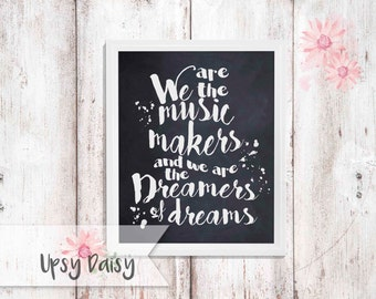 INSTANT DOWNLOAD: Willy Wonka, Charlie and the Chocolate Factory, Dreamers of Dreams Quote 8x10 Chalkboard Printable (JPEG Digital File)