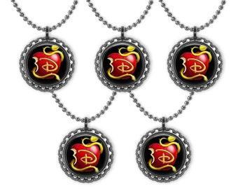5 Disney DESCENDANTS Apple 3D Bottle Cap Necklace Birthday Party Favors BLACK