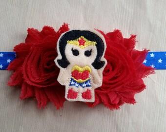 Wonder Woman headband. Newborn baby infant toddler girl teen adult. Shabby chic feltie