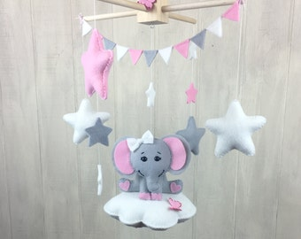 Elephant mobile - Baby mobiles -  cloud mobile - nursery mobile - stars - elephants - crib mobile - baby crib mobile