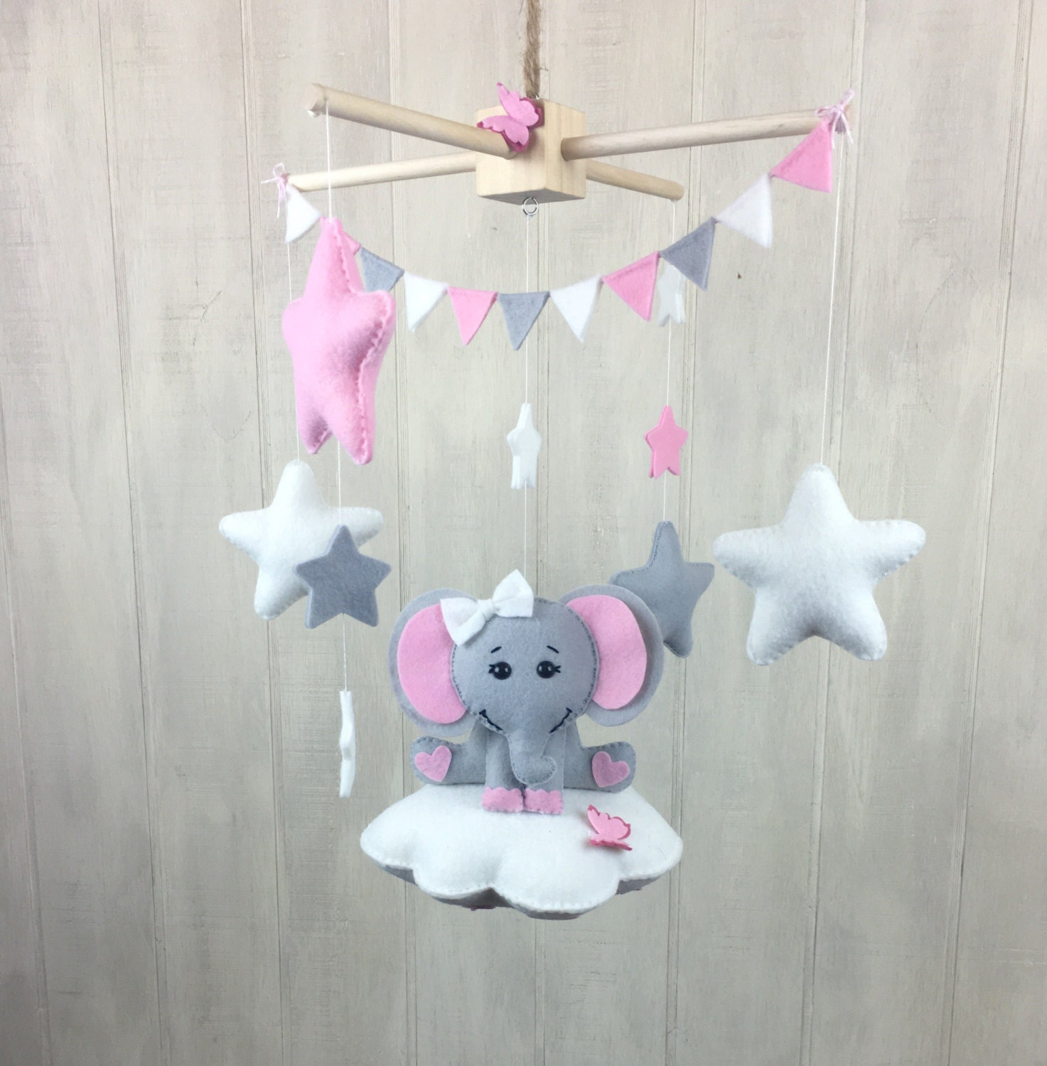 Elephant mobile baby mobiles cloud von juniperstreetdesigns