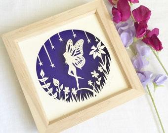 Fairy papercut, fairy art, fairy picture, papercutting,home decor, papercut art, framed papercut, wall art, original papercut, fantasy art.