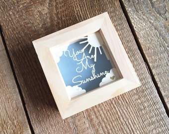 Small papercut, you are my sunshine, papercut art, framed papercut, anniversary gift, birthday gift, home décor.