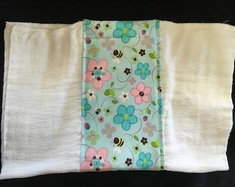 Flowers & Bees Burp Cloth
