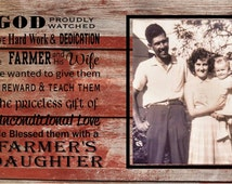 Farmer Daughter custom photo wood sign or Canvas Wall Art - Christmas, Mother's Day, Graduation, Wedding, etc.