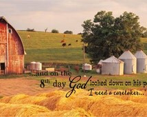 And on the 8th Day God Made A Farmer Custom Photo Wood Sign Canvas Wall Art Mother's Day Christmas, Birthday, FFA, Father's Day
