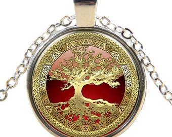 Gold Tree of Life Cabochon Glass Silver Chain Necklace Pendent Jewelry