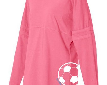 Soccer Pom Pom Jersey Top - Hot Pink, Black, and Grey Long-Sleeved Women's Soccer T-Shirt