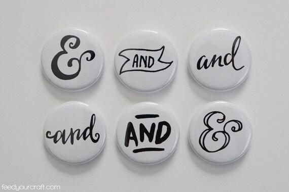 Noi400r et blanc Ampersand / et Flair Mini Badges