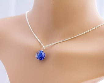 Cornflower  Necklace, flower Resin Pendant real flower, blue real cornflower resin pendant on silver chain, cornflower jewelry for woman