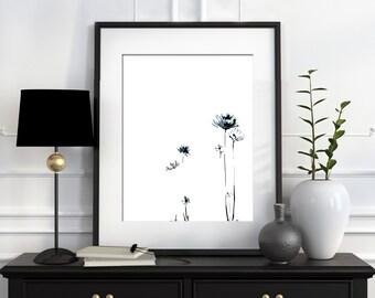 Minimalist Wall Art Print, Daisy Florals Ink Drawing, Modern Home Decor