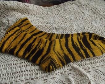 Stripey Tiger Socks made on an antique circular sock machine