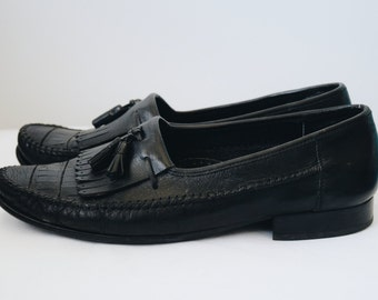 1980s leather tassel moccasins/loafers size 9