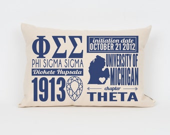 Phi Sigma Sigma Custom Sorority Facts Pillow // Greek Letter Pillow // Big Little Gift // Sorority Letters // Sorority Gift // Dorm Decor