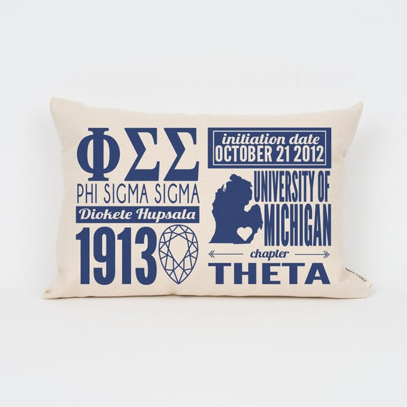 phi sigma sigma custom sorority facts pillow greek letter pillow big little