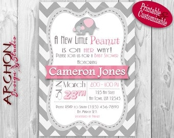 Pink and Grey Accented Elephant Baby Shower Invitation – Printable & Personalized