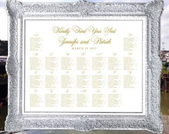 Alphabetical Wedding Seating Chart, Table Chart Seating Chart, Landscape Seat Chart, Table Seat Chart Wedding Decor Digital Printable TS009