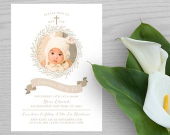 Baptism Invitation, Christening invitation, Birth Announcement, New Born Baby Boy Girl Children Keepsake Digital Printable Cards BB010