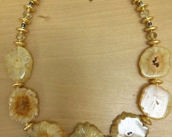 Druzy: Yellow Solar Druzy Quartz Sliced Necklace