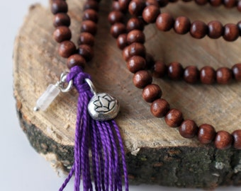 Wooden Bead Necklace - Zodiac Sign Jewelry, Mala Beads, Yoga Necklace, Tassel Necklace, Long Wood Necklace, Celestial Jewelry, Lotus Flower